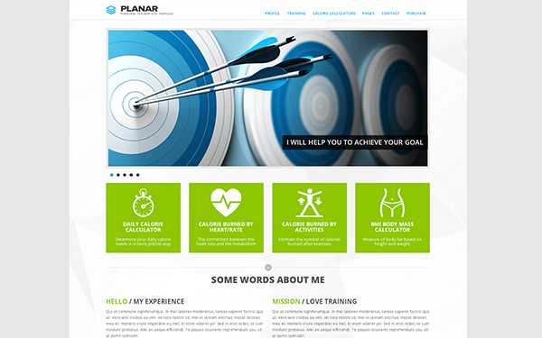 PLANAR - Personal Trainer Site Template - Live Preview - WrapBootstrap