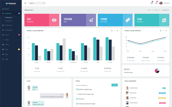 Velonic - Admin Dashboard & Frontend