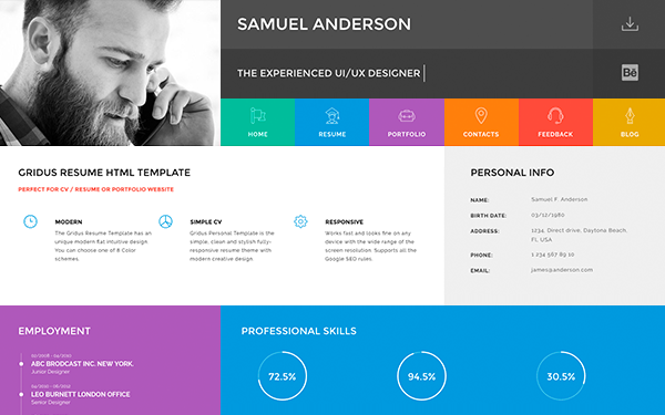 Gridus vcard cv resume portfolio resumes cv for Personal profile design templates