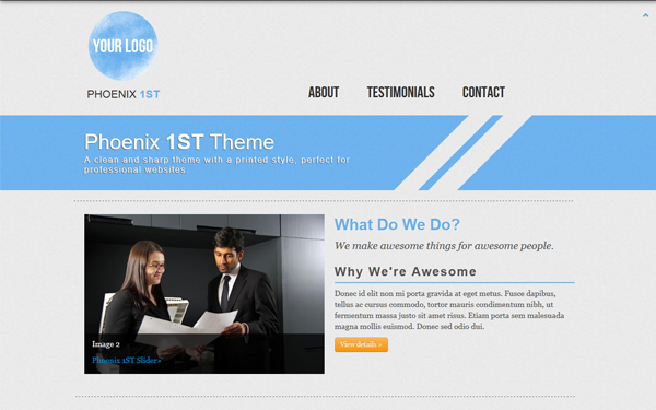 Landing Page Templates - Phoenix 1ST Theme - <p>Sharp and Clean</p>