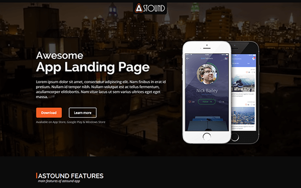 Astound - App Landing Page - Live Preview - WrapBootstrap