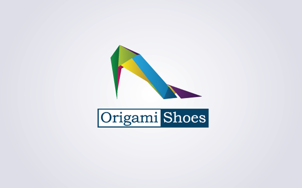 origami shoes logo is an elegant and clean modern logo inspired on origami art which can be used in shoe stores womens fashions store