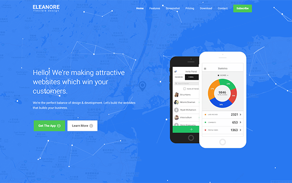 Eleanore - Flexible App Landing Page - Live Preview - WrapBootstrap
