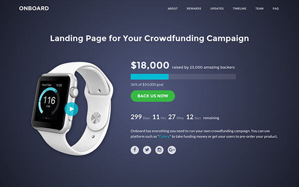 Onboard - Crowdfunding (Bootstrap4)