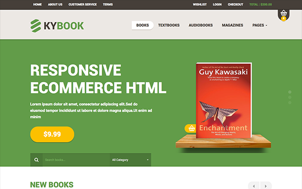 KYBook - Responsive Bookstore Theme - Live Preview - WrapBootstrap