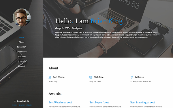MyWork - Resume Bootstrap Template - Live Preview - WrapBootstrap