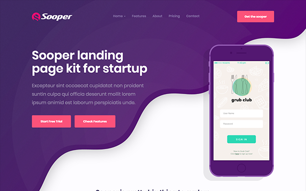 DOWNLOAD - Sooper - Mobile, Desktop App Template
