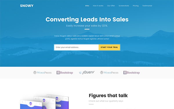 Snowy - Leads Landing Page