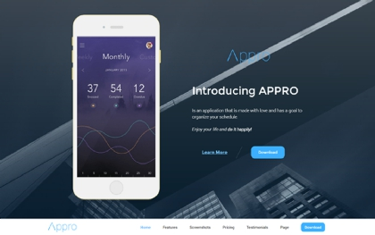 Appro Responsive Showcase Landing Page
