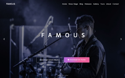 Famous - One Page Music Band Template