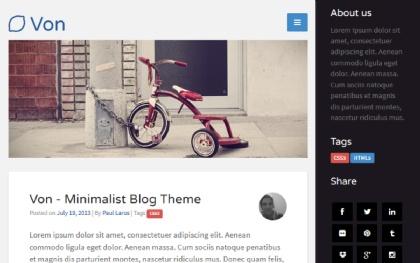 Von - Minimalist Blog Theme