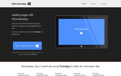 MySurfaceApp - Landing Page
