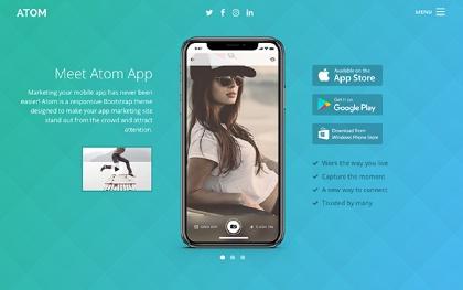 Atom - Mobile App Startup (Bootstrap 4)
