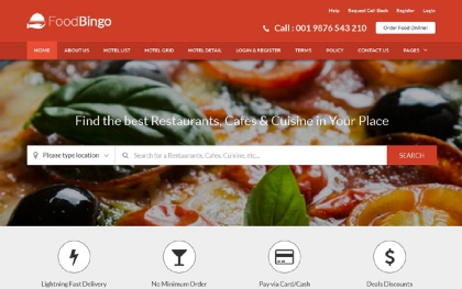 Restaurant html site templates wrapbootstrap foodbingo restaurant cafe template maxwellsz