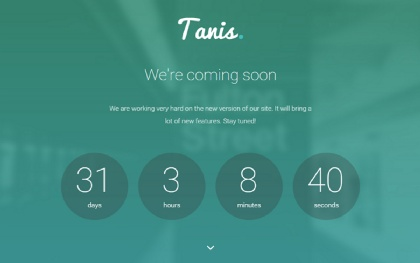 Tanis - Coming Soon WordPress Theme