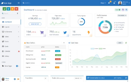 Ace - HTML & Angular Admin Template Screenshot