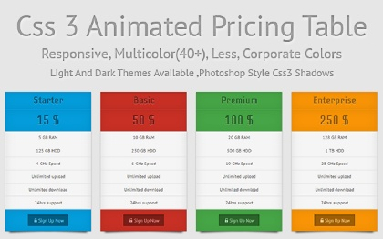 Animated Pricing Table (Responsive)