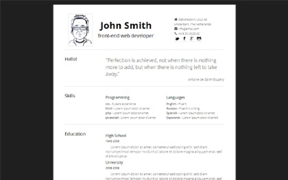 Exceptional Simply   Minimal, Responsive Resume Regard To Live Resume