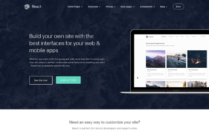 React - Bootstrap 4 Business Theme Screenshot