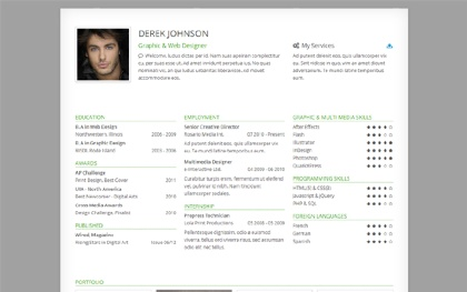 Derek - Responsive One-Page Resume