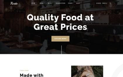 Resto - Restaurant Theme - Bootstrap 4