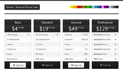 Booster - Bootstrap Pricing Table