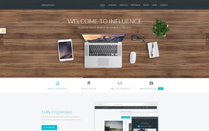 Influence - One Page Business Template